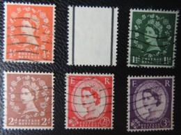 GREAT BRITAIN QEII 1957-59 WILDINGS GRAPHITE LINE SG561-566 SET 6 VALUES GB - 1952-.... (Elizabeth II)