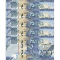 TWN - KENYA NEW - 200 Shillings 2019 DEALERS LOT X 5 - Prefix AA UNC - Kenya