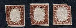 IV: 3 Lire X Tre Esemplari (18A + 18Aa X 2 ) Nuovi Gomma Integra Ma Forti Strappi (€ 4.200 Perfetti) - Sardinia