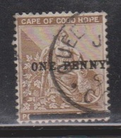 CAPE OF GOOD HOPE Scott # 58b Used - Hope & Symbols - No Period After PENNY - South Africa (...-1961)