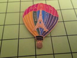 616a Pin's Pins / Beau Et Rare : THEME : MONTGOLFIERES / GRAND PIN'S BALLON LIBRE PARIS TOUR EIFFEL - Montgolfières