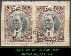 EARLY OTTOMAN SPECIALIZED FOR SPECIALIST, SEE.... Mi. Nr. 912 Im Paar Auf Briefstück - 1921-... República