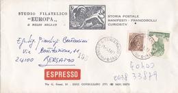 """BUSTA VIAGGIATA  ESPRESSO - CONEGLIANO (TV) STUDIO FILATELICO """" EUROPA ,,DI NELSO SOLDAN VIAGGIATA PER BERGAMO - 1946-.. Republiek"""