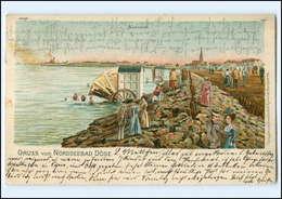 U7716/ Nordseebad Döse B. Cuxhaven Karrenbad Badekarren Litho Ak 1906 - Deutschland