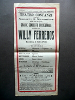 Locandina Teatro Costanzi Concerto Orchestrale Willy Ferreros 6 Anni Primo '900 - Vecchi Documenti