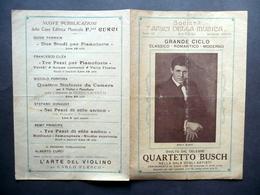 Programma Società Amici Della Musica Napoli Concerto Quartetto Busch 1923-24 - Vecchi Documenti