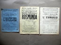 Teatro Storchi Modena L'Eunuco Rosmunda L'Avversario Tre Fogli Volanti '900 - Vecchi Documenti