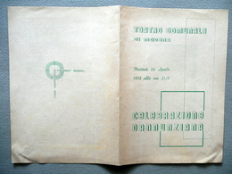 Programma Teatro Comunale Di Modena Celebrazione D'Annunzio Figlia Di Iorio 1938 - Vecchi Documenti