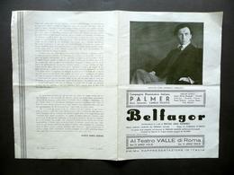 Programma Compagnia Drammatica Palmer Belfagor Morselli Marchi Teatro Valle 1933 - Old Paper