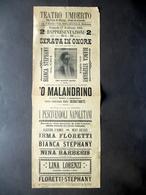 Locandina Teatro Umberto Bianca Stephany Comica Macchiettista 'O Malandrino - Vecchi Documenti