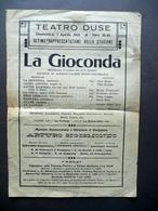 Foglio Volante Teatro Duse La Gioconda Melodramma Gorrio Ponchielli 1916 - Vecchi Documenti