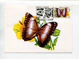 MORPHO ACHILLEANA, PAPILLON. CARTE POSTALE AVEC OBLITERES POSTA ROMANA 1992 SPC TARJETA CARD -LILHU - Papillons