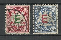 Deutsches Reich Bavaria Bayern 1908 Michel 3 - 4 Dienstmarken Duty Tax O - Germania