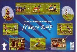 """FR Bloc YT 110 BF """" Coupe Du Monde De Rugby En France """" 2007 Neuf** - Blocchi & Foglietti"""