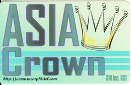 AUSTRALIA - Asia Crown, Memphis Telecom Prepaid Card $10, Used - Australia