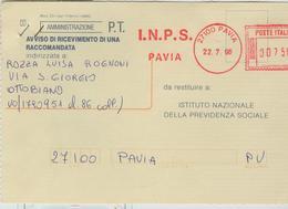 I.N.P.S.PAVIA-AFFRANCATURA MECC. ROSSA ,1996 -MOD.1985-TIMBRO POSTE OTTOBIANO (PAVIA), - Affrancature Meccaniche Rosse (EMA)