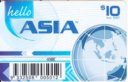 AUSTRALIA - Hello Asia Prepaid Card $10, Used - Australia
