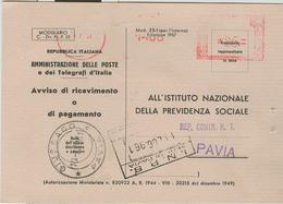 I.N.P.S.PAVIA-AFFRANCATURA MECC. ROSSA ,1961 -MOD.1957-TIMBRO POSTE GIUSSAGO (PAVIA), - Affrancature Meccaniche Rosse (EMA)