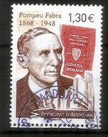 Pompeu Fabra (reform Of Contemporary Catalan Language), Un Timbre Oblitéré 2018, 1 ère Qualité - Used Stamps