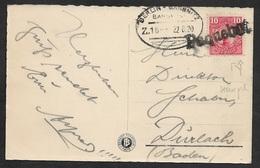 1920 - Schweden 10ö Seepost Paquebot Auf AK - Ovaler BERLIN SASSNITZ Nach Dürlach - Sweden