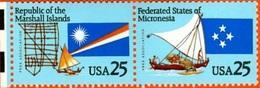 USA #2506-7  -  MICRONESIA  AND MARSHALL ISLANDS -1990   -  MINT - Etats-Unis