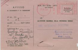 I.N.P.S.PAVIA-AFFRANCATURA MECC. ROSSA ,1976 -MOD.1967-TIMBRO POSTE ROBBIO (PAVIA), - Affrancature Meccaniche Rosse (EMA)