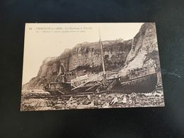 """Cpa 14 CALVADOS Vierville  Sur Mer - Les Naufrages -le """"Plaston """" Navire Anglais 1917 - Frankreich"""