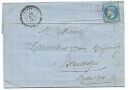 N°29 BLEU NAPOLEON SUR LETTRE /  POURRIERES VAR POUR BEAUVEVER BASSES ALPES 1868 / GC 4625 INDICE 16 - Storia Postale