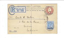 MARCOPHILIE BUREAU ANGLAIS EN TURQUIE L.R ENTIER + 1 TP 1 PIASTRE - OB BRITISH POST OFFICE CONSTANTINOPLE 1908 - Covers & Documents