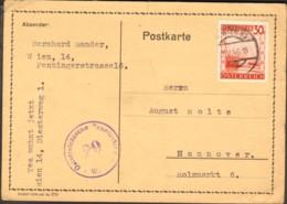 Österreich Auslandspostkarte 1946 Mit 30 G Landschaften Aus Wien 89 Nach Hannover Zensurstempel - 1945-60 Lettres
