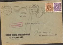 Alli.Bes Ortsbrief Von 11/1946 Aus Hannover M.6 Pfg.Ziffer U. Nachgebühr Da 10 Pfg.AM-Post Nicht Anerkannt - American,British And Russian Zone