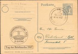 Alli.Bes. Ganzsache P 962 1947 Mit Sonderstempel Tag Der Briefmarke Kiel Bedarf - Zone AAS