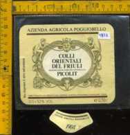 Etichetta Vino Liquore Picolit 1988 Azienda Poggiobello - Manzano UD - Etichette