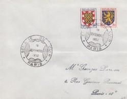 FRANCE - LETTRE CACHET COMMÉMORATIF SEMAINE DU CUIR  PARIS  16.9.1952 -  Yv N°902- 903   /1 - Marcofilia (sobres)