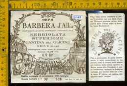 Etichetta Vino Liquore Barbera D' Alba 1974  Cant. Del Glicine - Neive CN - Etichette