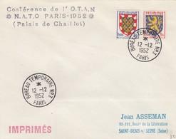 FRANCE - LETTRE IMPRIMES  CACHET BUREAU TEMPORAIRE N°3 PARIS 12.12.1952 - Yv N°902- 903 /1 - Marcofilia (sobres)