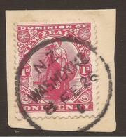 NEW ZEALAND. POSTMARK WASHDYKE. 1d CARMINE. USED. - 1907-1947 Dominion