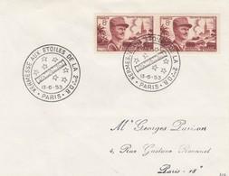 FRANCE - LETTRE CACHET COMMÉMORATIF KERMESSE AUX ETOILES DE LA 2eme D.B.  PARIS 13.6.1953 - Yv N°942 /2 - Marcofilia (sobres)