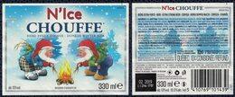 Belgique Lot 2 Étiquettes Bière Beer Labels N'Ice Chouffe Brune D'Hiver - Beer