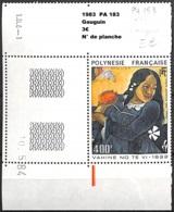 [838273]TB//**/Mnh-Polynésie Française 1983 - PA183, Gauguin, N° De Planche, Tableau - Peinture - Art - Poste Aérienne