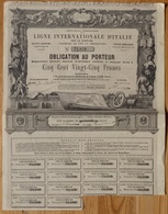 Ligne Internationale D'Italie Par Le Simplon - Obligation 525 F - 1868 (N°75059) - Spoorwegen En Trams