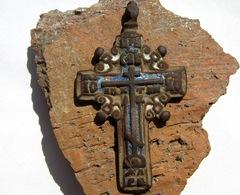 Large Bronze Cross Enamel 17-18 Century - Archeologie