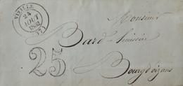 DF40266/225 - ✉️ De VIZILLE (Isère) Du 24 AOÛT 1852 à BOURG D'OIZANS (Isère) - TAXE De 25c - Marcophilie (Lettres)