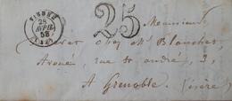 DF40266/226 - ✉️ De VIENNE (Isère) Du 28 AVRIL 1858 à GRENOBLE (Isère) - TAXE De 25c - Postmark Collection (Covers)