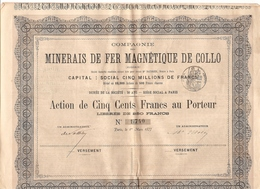 Cie Des Minerais De Fer De Collo (Algérie) - Action 500 F 1877 N° 1740 - Azioni & Titoli