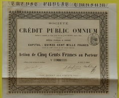 Sté Du Crédit Public Omnium - Action 500 F 1865 N° 824 - Autres