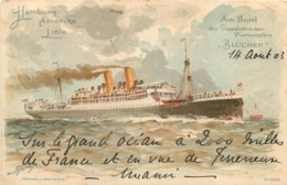HAMBURG AMERIKA LINIE  AM BORD BLUCHER 1903 - Steamers