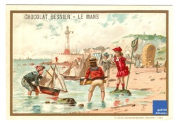 Jolie Chromo Dorée Besnier Ed. Sirven Phare Mer Plage Jeu Jouet Bateau Voilier Victorian Trade Card Toy Boat A18-21 - Chocolate