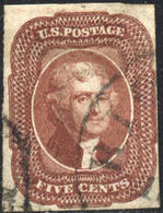 US #12 Used 5c Jefferson  Red Brown Type 1  Issue Of 1856 - Used Stamps