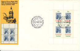 Australia FDC 25-9-1978 National Stamp Week Souvenir Sheet 50th Anniversary National Stamp Exhibition 1928 With Cachet - FDC